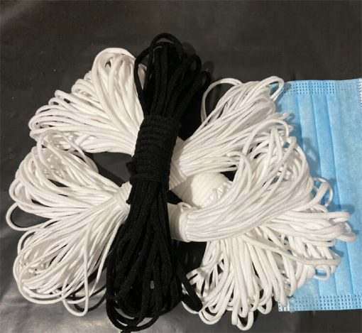 wholesale elastic ear loop white tie disposable mask rope string 3mm earloop for medical face mask 01-02